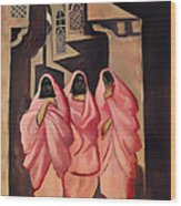 Three Women On The Street Of Baghdad Wood Print