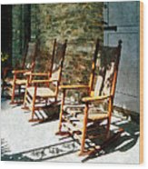 Three Wooden Rocking Chairs On Sunny Porch Wood Print