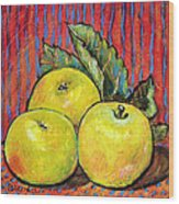 Three Yellow Apples Wood Print