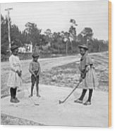 Three Young Children Play Golf Wood Print