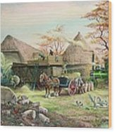Threshing In Kent Wood Print by Dudley Pout