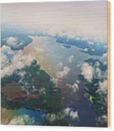 Through The Clouds. Rainbow Earth Wood Print by Jenny Rainbow