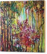 Through The Forest  Wood Print by Michelle Dommer