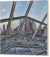 Through The Glass At Philly Wood Print