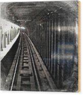 Through The Last Subway Car Window 3 Wood Print
