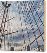 Through The Rigging Wood Print