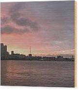 Ths City Sunset Wood Print