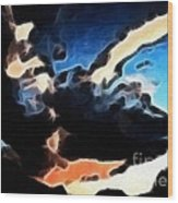 Thunder Clouds Expressive Brushstrokes Wood Print