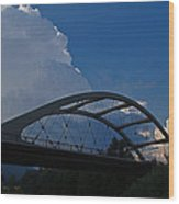 Thunder Over The Rogue River Bridge Wood Print