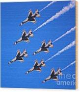 Thunderbirds Jet Team Flying Fast Wood Print