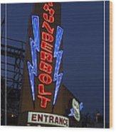 Thunderbolt Rollercoaster Neon Sign Wood Print