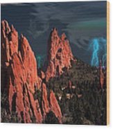Thunderstorm At Garden Of The Gods Wood Print