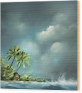 Thunderstorm At Jupiter Beach Wood Print