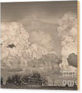 Thunderstorm Clouds And The Little House On The Prairie Sepia Wood Print