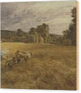 Thunderstorm In The Harvest Wood Print