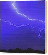 Thunderstorm In The Rain Wood Print