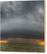 Thunderstorm Over Grassy Field Wood Print