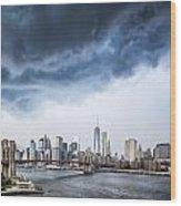 Thunderstorm Over Manhattan Downtown Wood Print