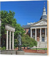 Thurgood Marshall Memorial And Maryland State House Wood Print