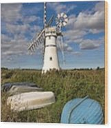 Thurne Dyke Windpump Norfolk Wood Print