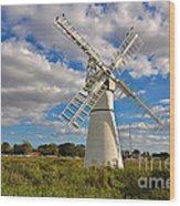 Thurne Dyke Windpump On The Norfolk Broads Wood Print