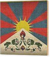 Tibet Flag Vintage Distressed Finish Wood Print