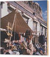Tibet Market At Gyantse By Jrr Wood Print