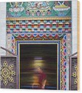 Tibetan Monk And The Prayer Wheel Wood Print by Tim Gainey
