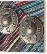 Tibetan Prayer Bells On Woven Scarf Wood Print