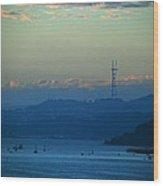 Tiburon's View Of Sutro Tower Wood Print
