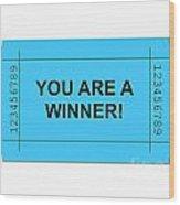 Ticket Blue Wood Print