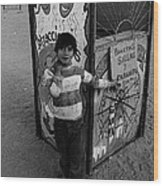 Ticket Booth Traveling Carnival Us Mexico Border Naco Sonora Mexico 1980 Wood Print