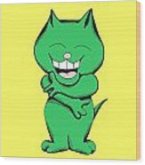 Tickle Cat Laughing Wood Print