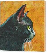 Black Cat In Profile Wood Print