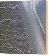 Tidal Channels At Low Tide Cook Inlet Wood Print
