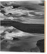Tidal Pond Sunset New Zealand In Black And White Wood Print
