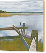 Tide And Fence Oil Wood Print