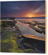 Tidepool Sunsets Wood Print by Peter Tellone