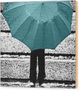 Tiffany Blue Umbrella Wood Print