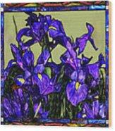 Tiffany Style Blue Iris Wood Print