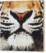 Tiger Art - Burning Bright Wood Print