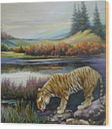 Tiger By The River Wood Print