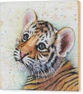Tiger Cub Watercolor Art Wood Print