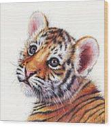 Tiger Cub Watercolor Painting Wood Print