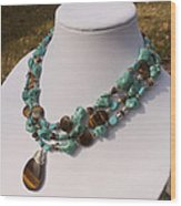 Tiger Eye And Turquoise Triple Strand Necklace 3640 Wood Print