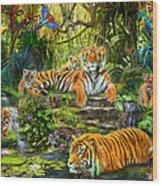 Tiger Family At The Pool Wood Print