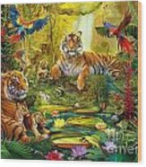 Tiger Family In The Jungle Wood Print by Jan Patrik Krasny