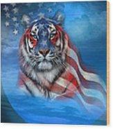 Tiger Flag Wood Print