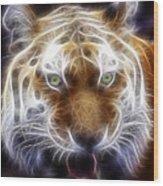 Tiger Greatness Digital Painting Wood Print