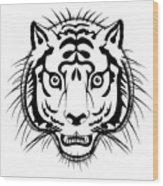 Tiger Head Wood Print